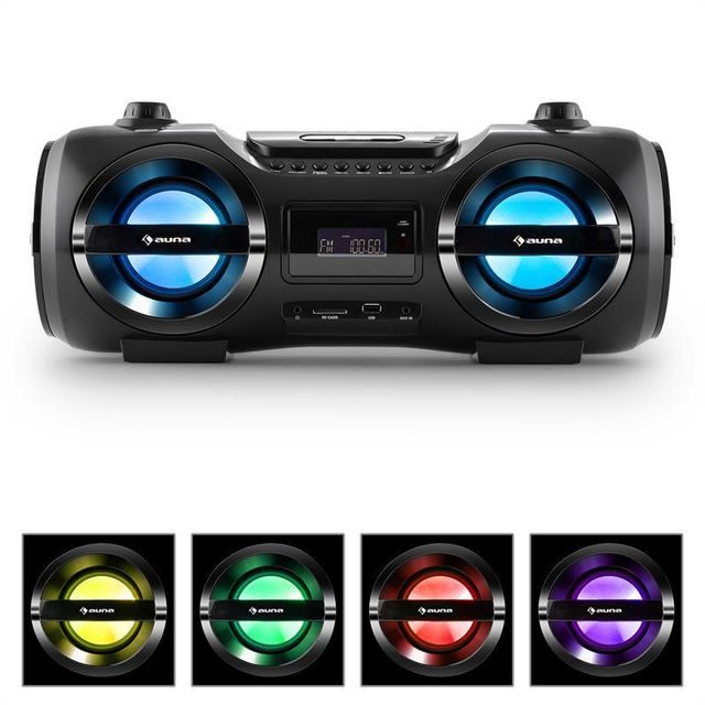 AUNA Soundblaster M Boombox 3.0 CD/MP3/USB FM effet LED 25W RMS 50W max