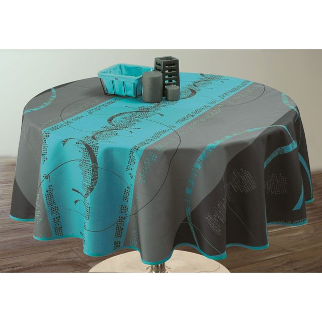 le linge de jules nappe anti taches astrid turquoise. Black Bedroom Furniture Sets. Home Design Ideas