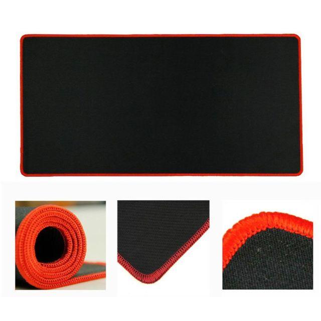 Tapis de Souris Gaming Tapis de Souris,Surface antiderapant pour Les Joueurs de l'Ordinateur PC et du Mac XXL Noir contour rouge