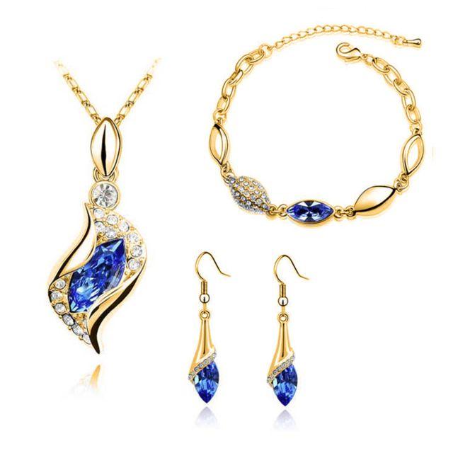 Luxe Coffret Cadeau Bijoux Ajustable Pour Femme + Parure Bijoux Mariage ,  Collier , Bracelet , Boucle D\u0027Oreil , Cristal bleu , Or 18 carats