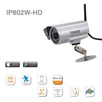 Tenvis - Ip602W-HD - Caméra Ip d'extérieur de surveillance Hd 720P H.264 à capteur 1/4 Cmos sensor - Caméra Ip de sécurité Wifi sans fil d'extérieur waterproof Haute Définition - Plug and Play P2P - Onvif 2.1 & compatible avec divers Nvr - Wirel