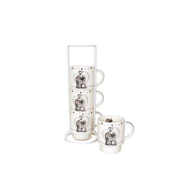 Set de 4 mugs sur colonne - Chabada - 27 x 7 cm - Céramique