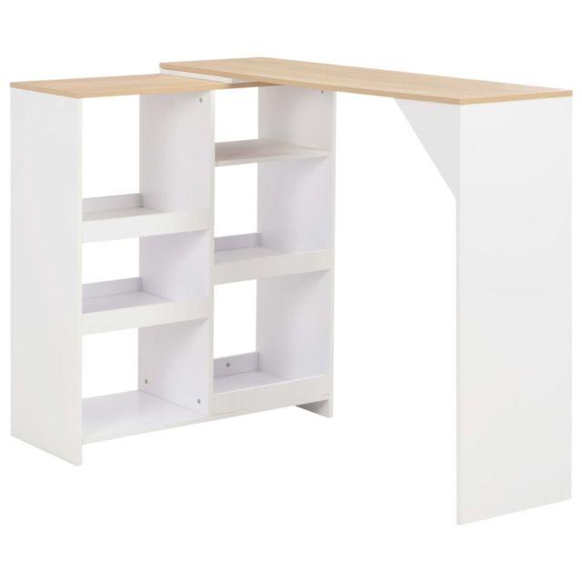 Contemporain Tables serie Tegucigalpa Table de bar avec tablette amovible Blanc 138 x 40 x 120 cm
