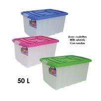 Msv - Boîte de rangement en polypropylène avec roulettes - 50 L