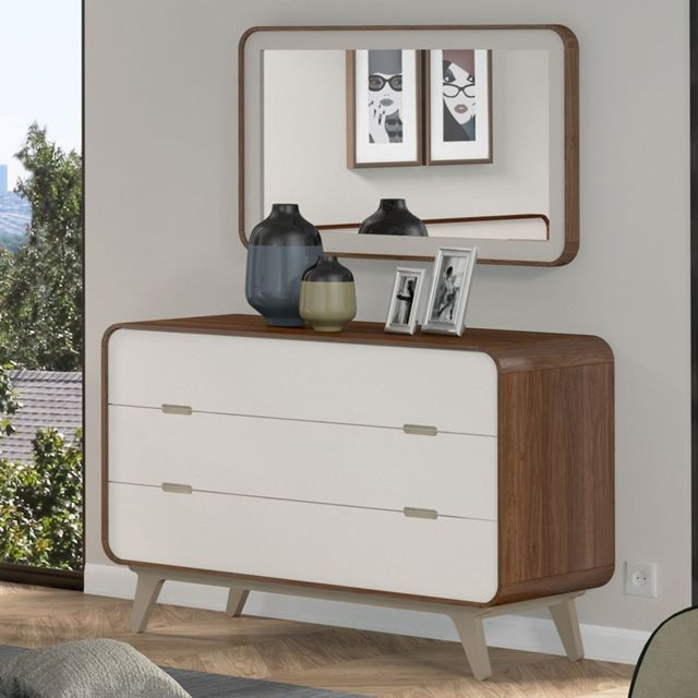 Tousmesmeubles Commode 3 tiroirs + miroir - Fifty