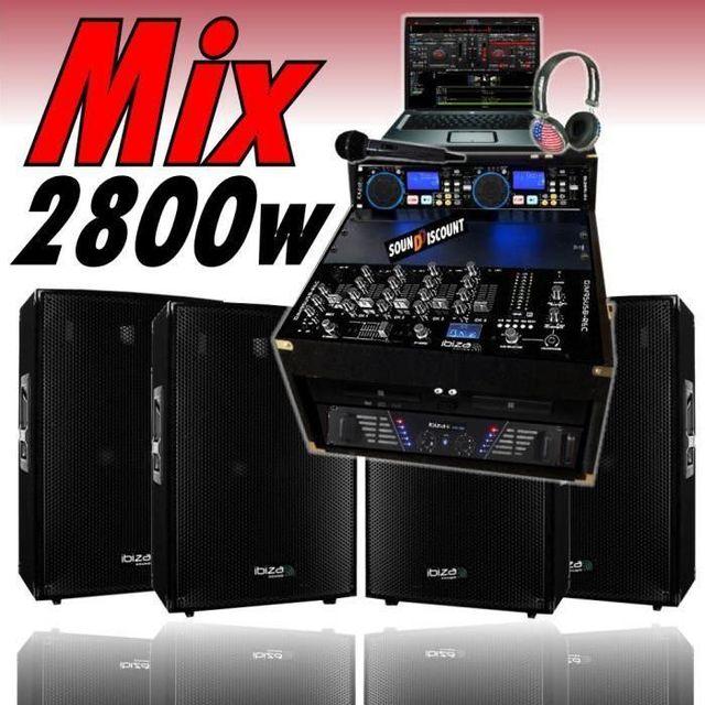 Ibiza Sound Sono dj 2800w ampli cd usb 4 enceintes micro