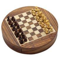 Royaltyroute - Coulissante en bois rond d'échecs sertie magnétiques morceaux et stockage diamètre 23 Cm