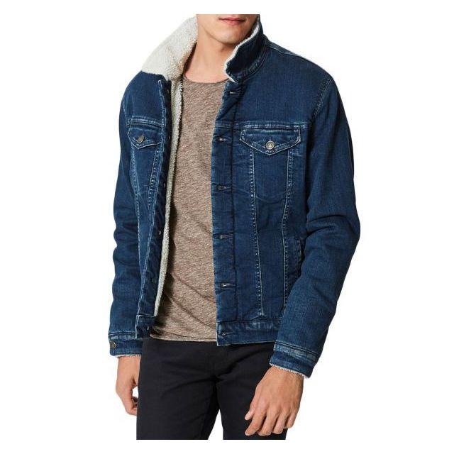 SELECTED - Blouson Sherpa en jeans Bleu - pas cher Achat   Vente Blouson  homme - RueDuCommerce d26058ffbfd3