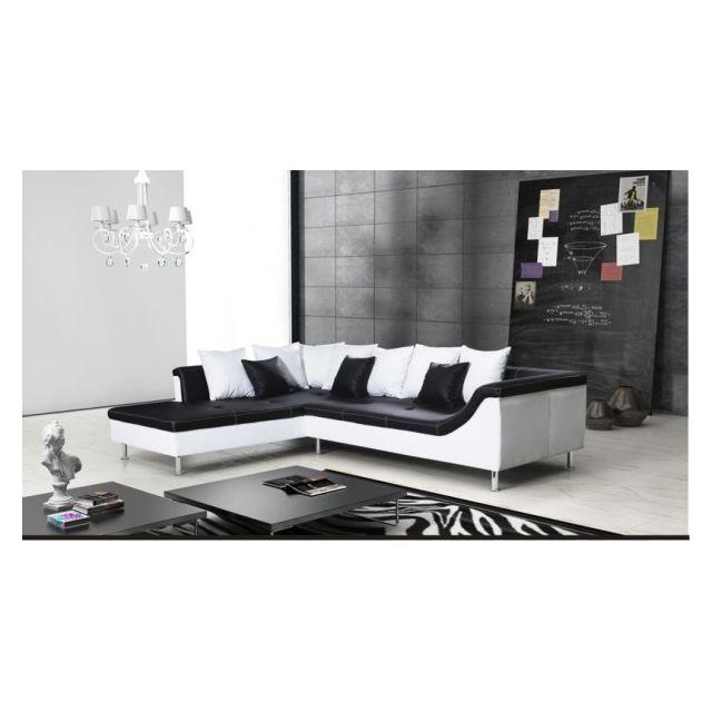 MEUBLESLINE Canapé d'angle 5 places MERCURE noir et blanc design simili cuir