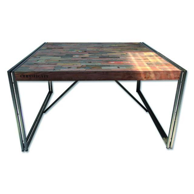 Tousmesmeubles Table de repas en bois carrée 140 cm² - Industry