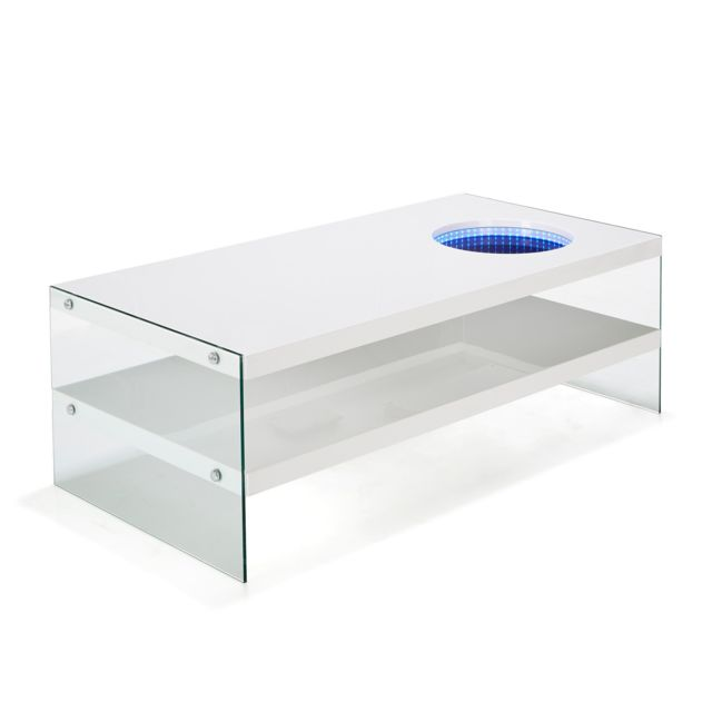 design intemporel 7aef2 4cbb4 Alinéa - Lum Table basse coloris blanc avec 1 tablette et ...