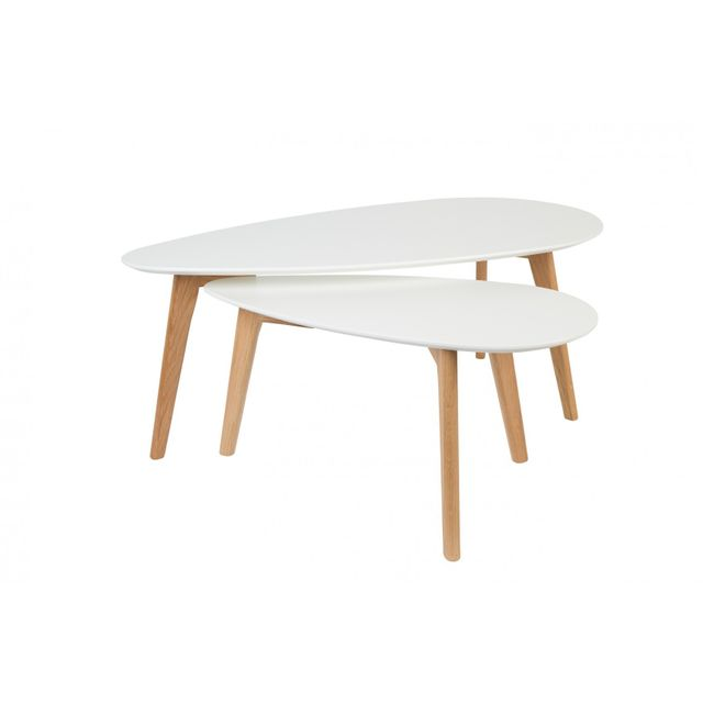 Boite A Design Tables basses scandinave Drop laquée blanche - set de 2