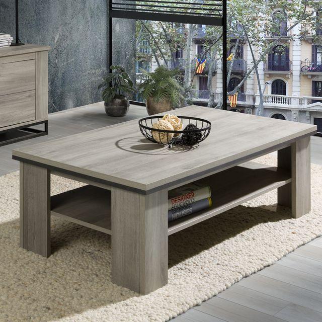 Nouvomeuble Table basse couleur chêne gris Artos
