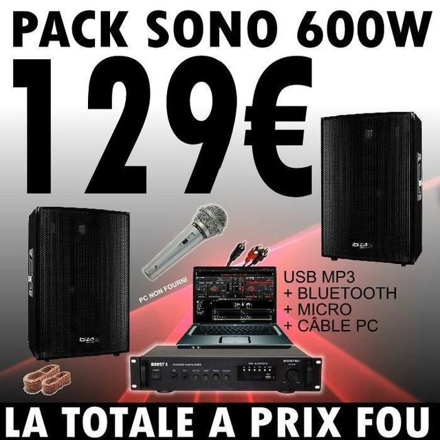 Ibiza Sound Fitness sono pack dj 600w ampli + enceintes + câble + micro pa dj sono led light sport