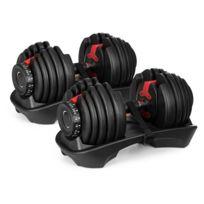 KLARFIT - AD 5255 Paire d'haltères courts réglables de 2,5 à 24 kg support noir