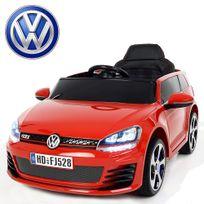 Volkswagen - Voiture électrique enfant Golf Gti 12V roues Led Rouge peinte carte Sd incluse
