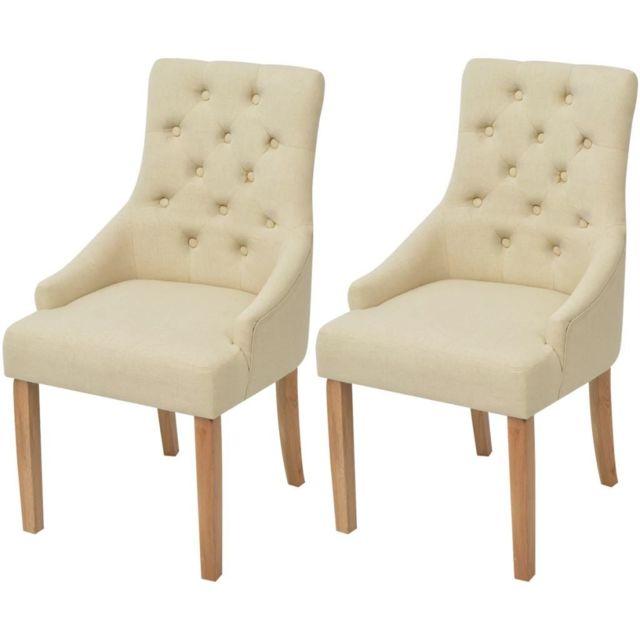 Distingué Fauteuils gamme Libreville Chaises de salle à manger 2 pcs Bois de chêne Tissu Crème