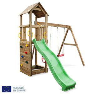 alice 39 s garden aire de jeu en bois nordet 2 agr s avec toboggan portique pour balan oire. Black Bedroom Furniture Sets. Home Design Ideas
