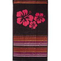Pt2TUNES - Serviette de plage hibiscus rayée noir et rose