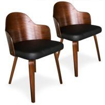 MENZZO Lot de 2 chaises scandinaves Phibie Vintage Gris