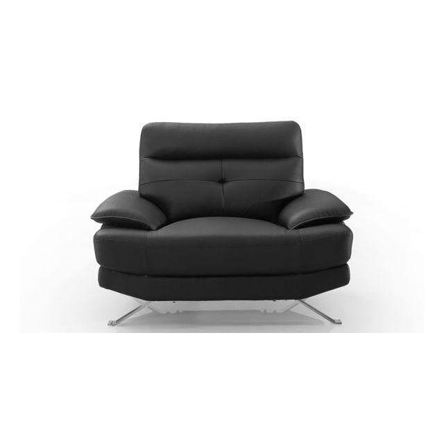 La Maison Du CanapÉ Fauteuil Design en cuir Sydney - Noir - {habillage_canape_cuir} - Noir
