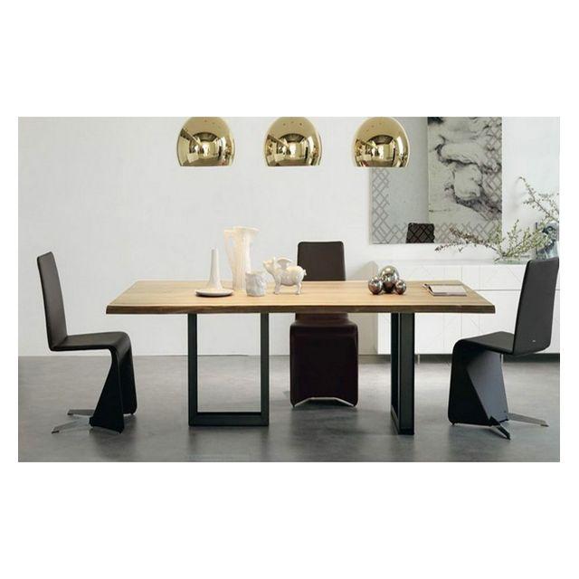 Cosy&TENDANCE Table Bois/Acier Tendance A 01 - 200 90 75 cm