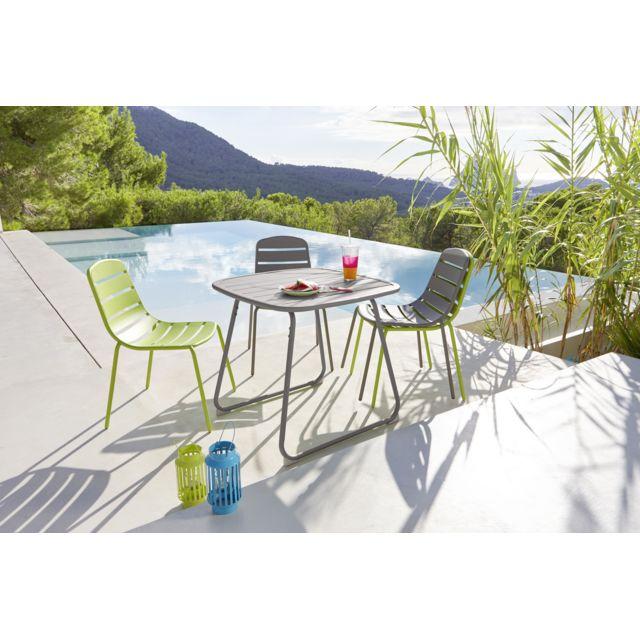 HYBA Table de jardin OPTIMISTIC - Acier - Taupe Table de jardin OPTIMISTIC - Acier - Taupe - Durée de la garantie : 2 ans