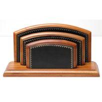 Volumica - Porte-lettres/courrier Bois style Cuir Noir Collection Trianon