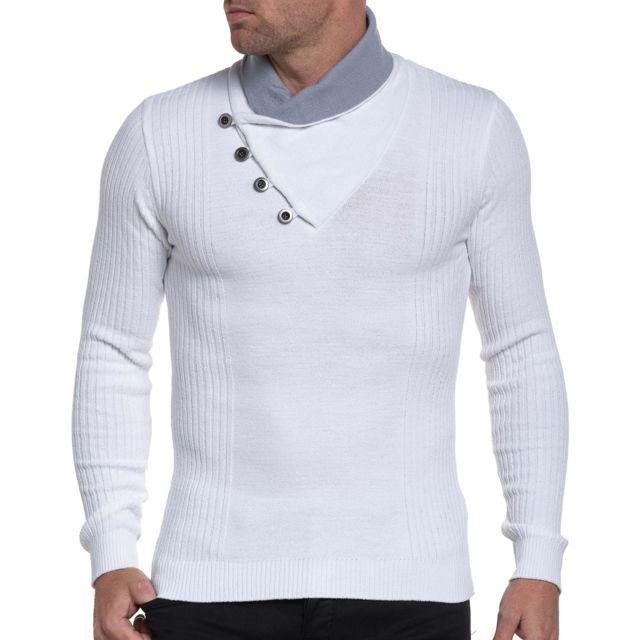 e716d2c894f5 BLZ Jeans - Pull homme blanc stylé à col châle montant - pas cher ...