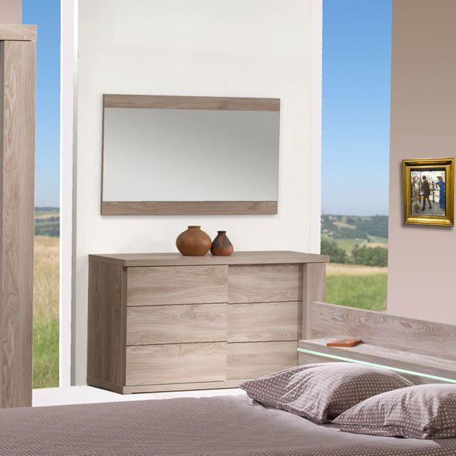 Sofamobili Miroir rectangulaire couleur chêne clair contemporain Cerise
