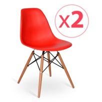 Novara Mobili - Pack 2 chaises Wood Style Rouge avec pied en bois de hêtre