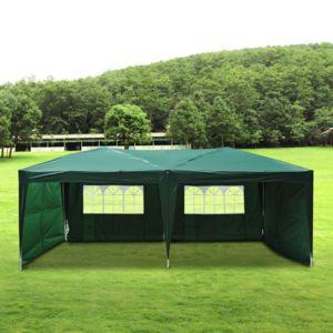 outsunny tonnelle barnum tente de r ception pliante 3 x 6 m vert sac de transport 50 pas. Black Bedroom Furniture Sets. Home Design Ideas