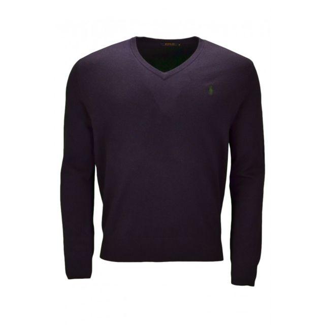 8d9e1648914 Ralph Lauren - Pull col V en laine bleu marine pour homme - pas cher ...