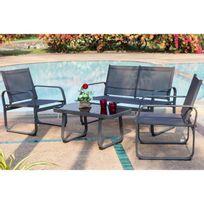 Beau Rivage - Salon de jardin Lychee 1 table basse. 2 fauteuils et un canapé en textilene - Gris anthracite