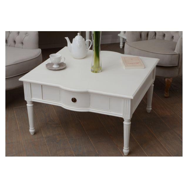 HELLIN Table basse carrée 1 tiroir en bois - Agatha