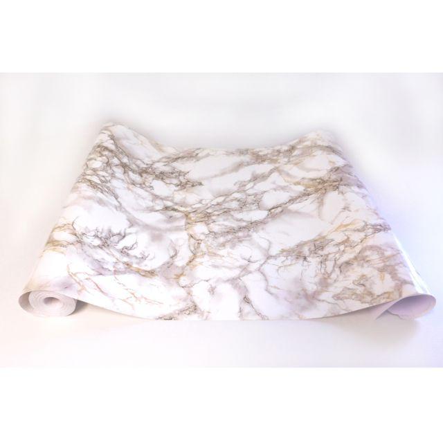 JSEVEM Papier peint imperm/éable en vinyle autocollant pour meubles de cuisine Motif marbre de jade Blanc 40cm x 5m