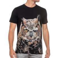 French Kick - Tee-shirt noir homme chouette