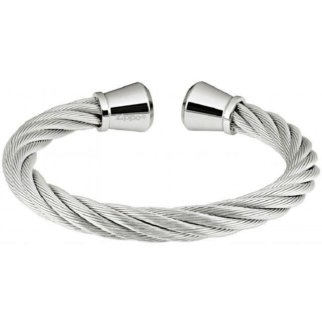Zippo Bracelet torque en inox torsadé