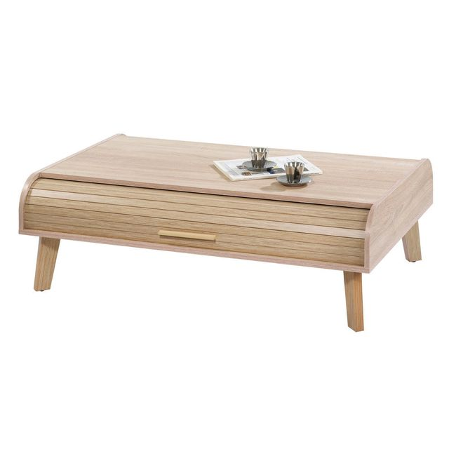 Table Basse en bois vintage avec rideau coulissant HAPPY - Chêne
