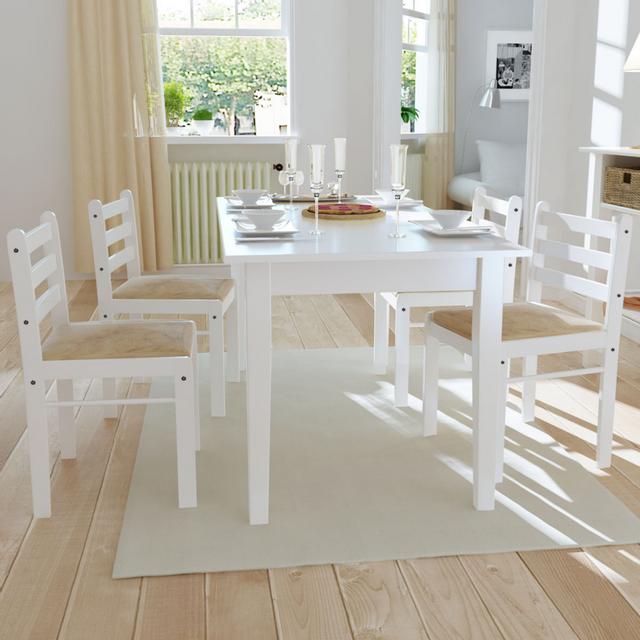 Vidaxl Set de 4 chaises blanches en bois avec dossier carré