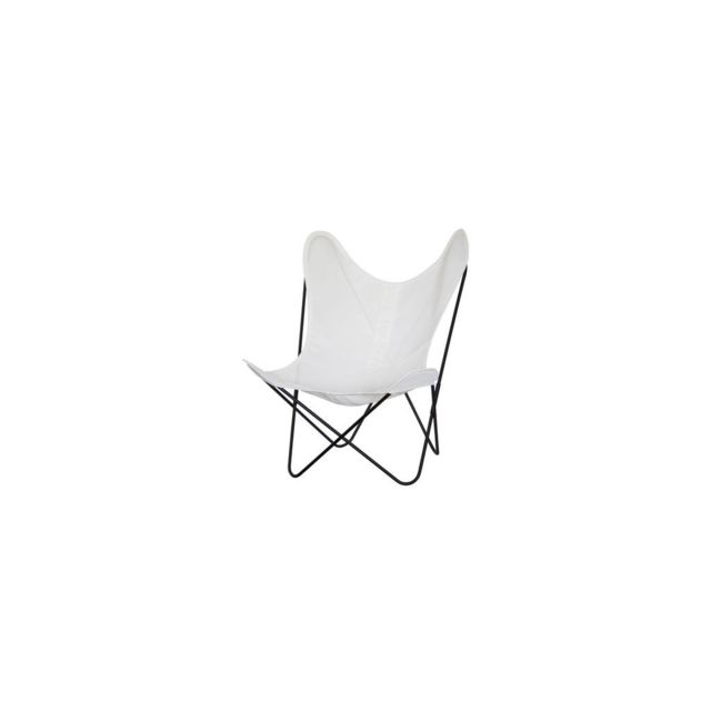 zons papillon fauteuil en textilene blanc 75x87xh86cm pas cher achat vente chaises. Black Bedroom Furniture Sets. Home Design Ideas