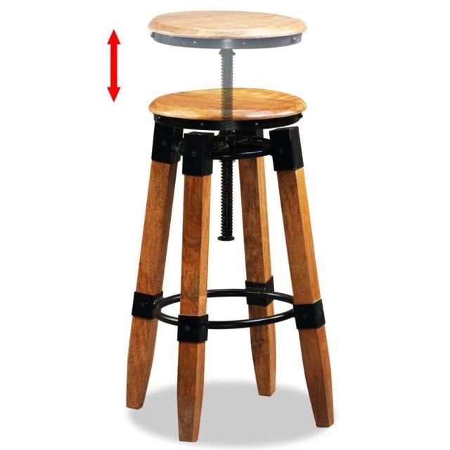 Icaverne Tabourets et chaises de bar collection Tabouret de bar 2 pcs Bois de manguier massif et acier