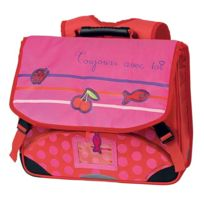 Caroline Lisfranc - Cartable rose 2 compartiments 38cm