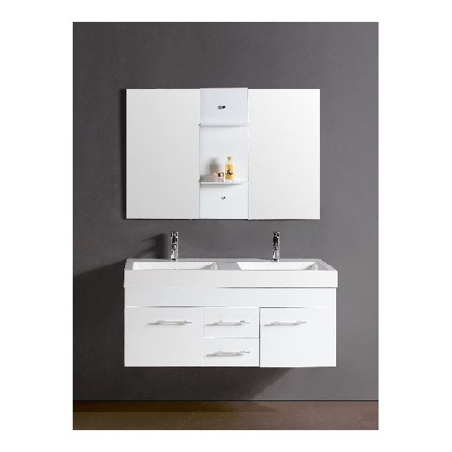 Concept Usine Ensemble Salle De Bain ChÊNE Massif Blanc Meuble, 2 Vasques, 2 Miroirs