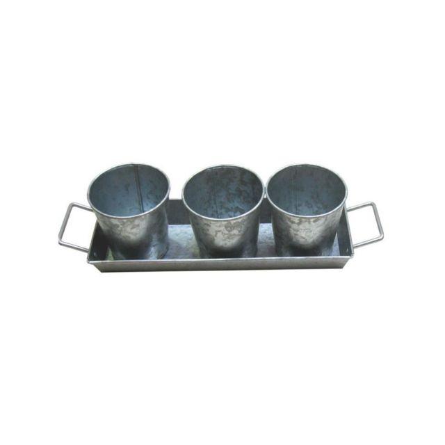 Cotton Wood Set de 3 pots et 1 plateau a poignées - Acier galvanisé
