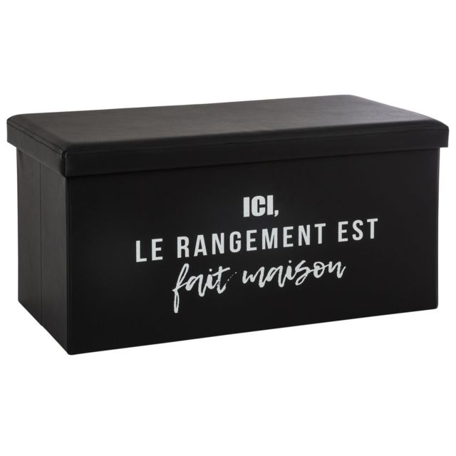 Atmosphera, Createur D'INTERIE Banquette coffre pliable rangement Louis - L. 76 x H. 37 cm - Noir