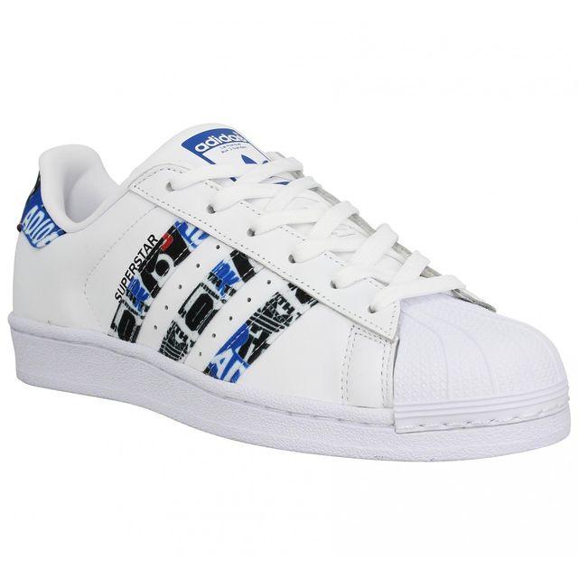 Adidas - Superstar cuir Femme-41 1/3-Blanc Bleu - pas cher ...