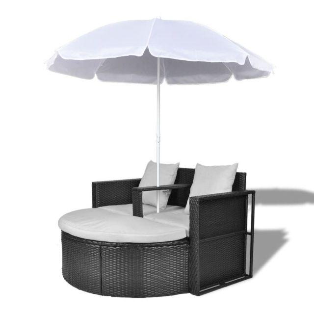 MARQUE GENERIQUE Icaverne - Lits d'extérieur edition Canapé de 2 places rond noir avec le parasol