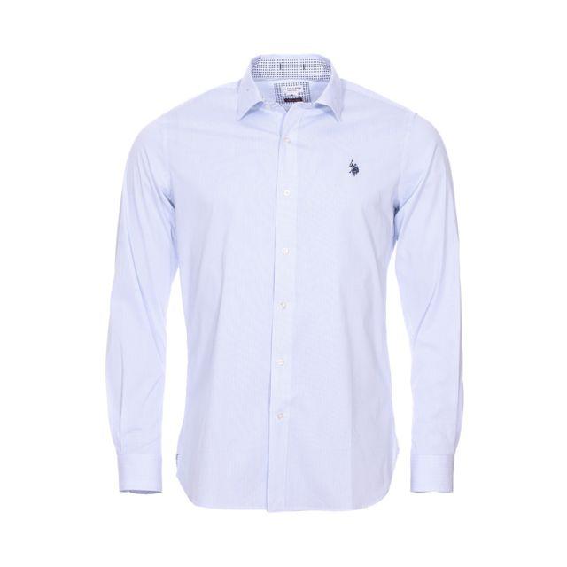 Uspoloassn Chemise cintrée U.S. Polo Assn. Octavi en coton stretch blanc à fines rayures bleu ciel