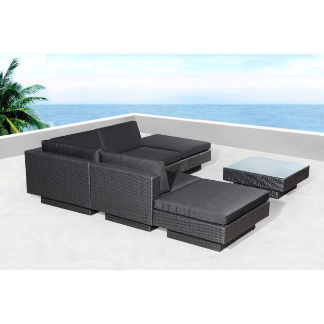 CONCEPT USINE - Amorgos noir : salon de jardin d\'angle en ...